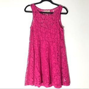 Free People Miles of Lace Trapeze Dress in Pink